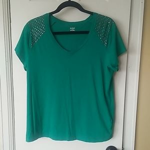 Teal Tee with Shoulder Accent